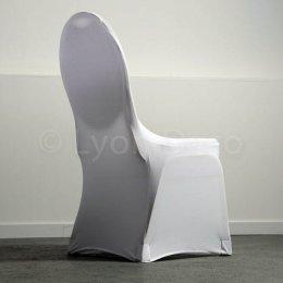 location housse de chaise lycra blanche et noire noeud organza satin. Black Bedroom Furniture Sets. Home Design Ideas