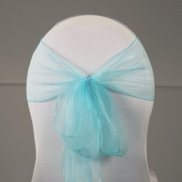 Location Noeud de Chaise Organza Turquoise