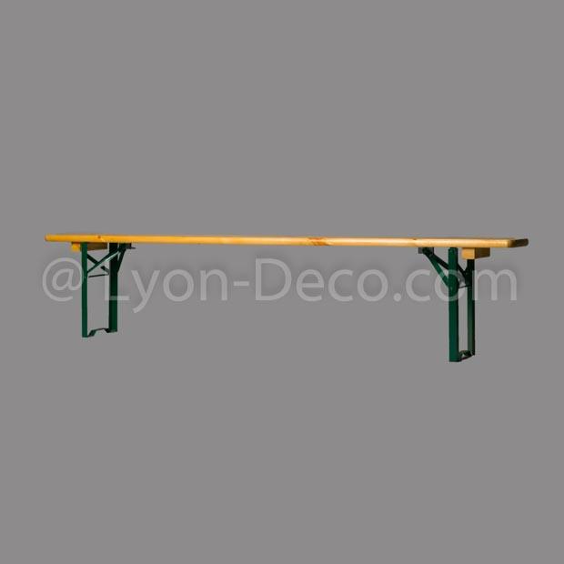location banc en bois long 220 x 25 cm pied pliant vert. Black Bedroom Furniture Sets. Home Design Ideas