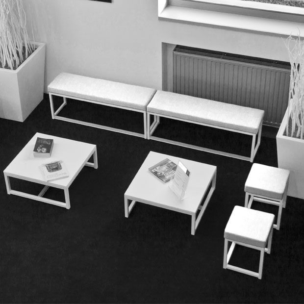 Banc + Pouf + Table Basse Blanche