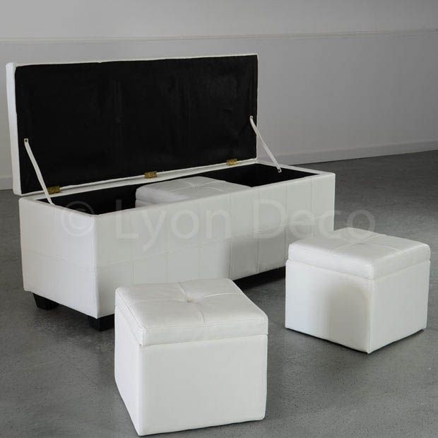 location banquette blanche 2 poufs 30 cm sur lyon et vienne. Black Bedroom Furniture Sets. Home Design Ideas