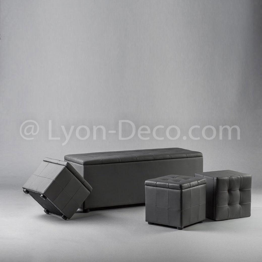 Location banquette grise 3 poufs mobilier lounge gris - Banquette coffre 3 poufs ...