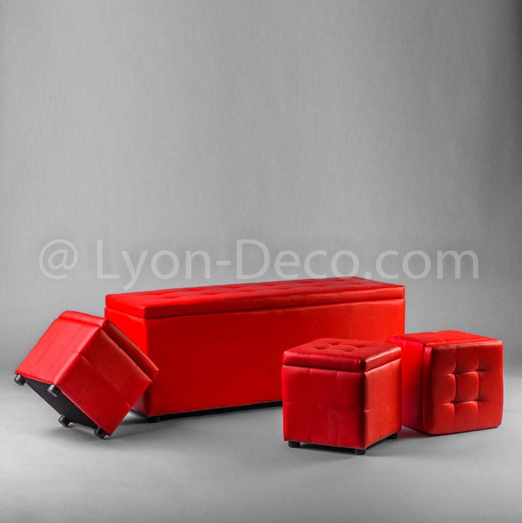 Location banquette rouge 3 poufs mobilier lounge - Banquette coffre 3 poufs ...
