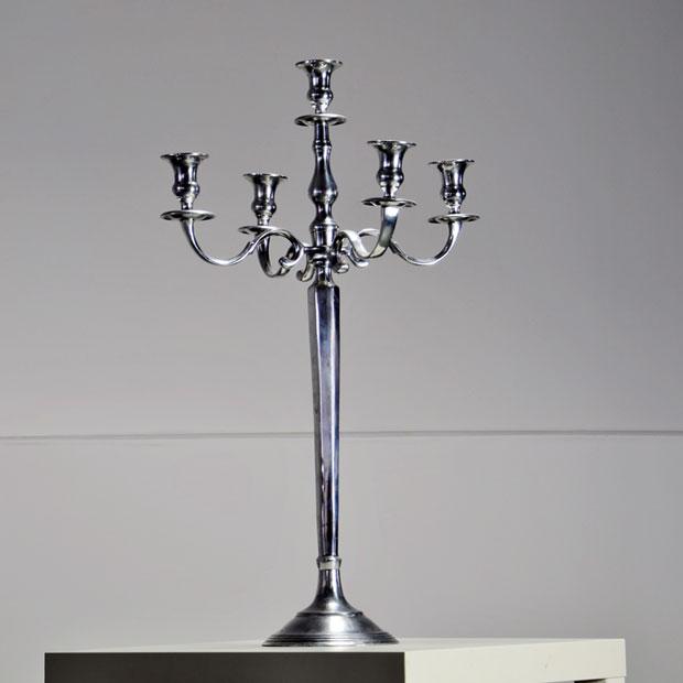 location chandelier argent h 80 cm 5 branches centre de table. Black Bedroom Furniture Sets. Home Design Ideas