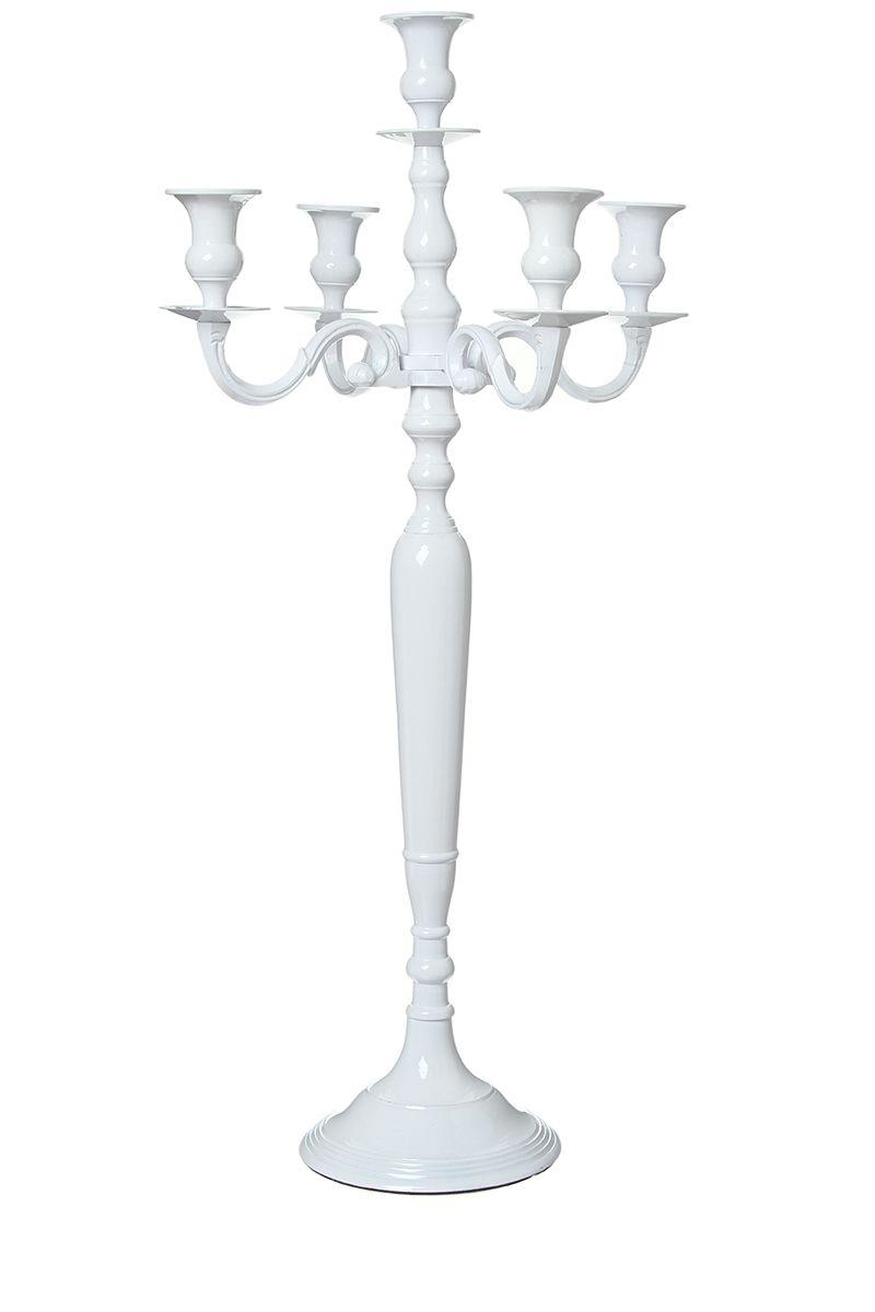 Location de chandelier blanc hauteur 80cm 5 branches disponible sur lyon et vienne - Grand chandelier sur pied ...