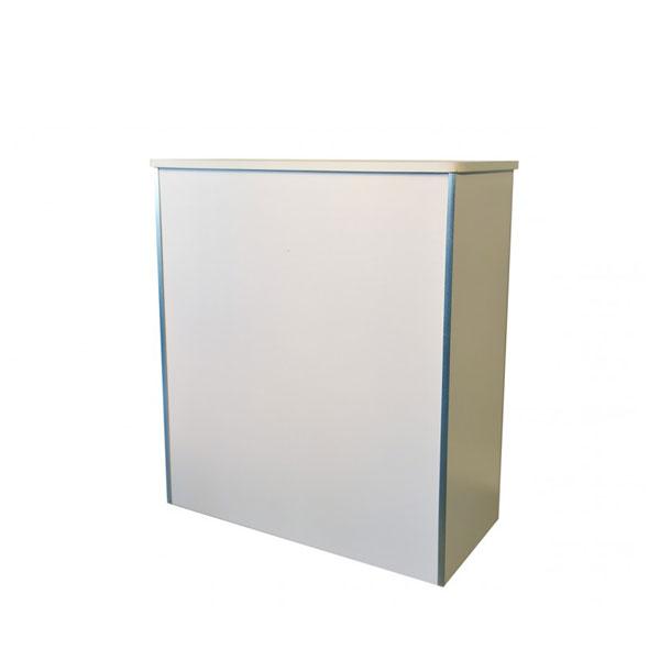 Location comptoir d 39 accueil blanc h 110 cm 3 rangement for Stand accueil