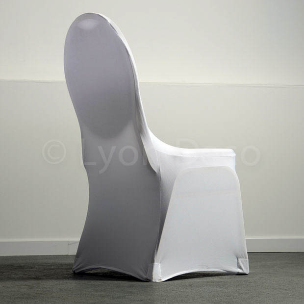 location housse de chaise blanche lycra disponible sur lyon et vienne. Black Bedroom Furniture Sets. Home Design Ideas
