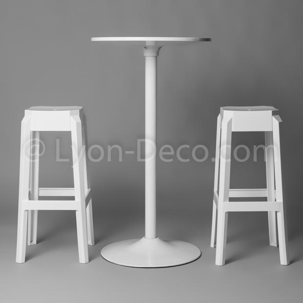 Location mange debout design ball laqu blanc hauteur 95 cm - Table mange debout blanc laque ...