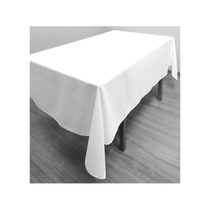 location nappe rectangulaire blanche 150 x 240cm pour table 183 x 76cm. Black Bedroom Furniture Sets. Home Design Ideas