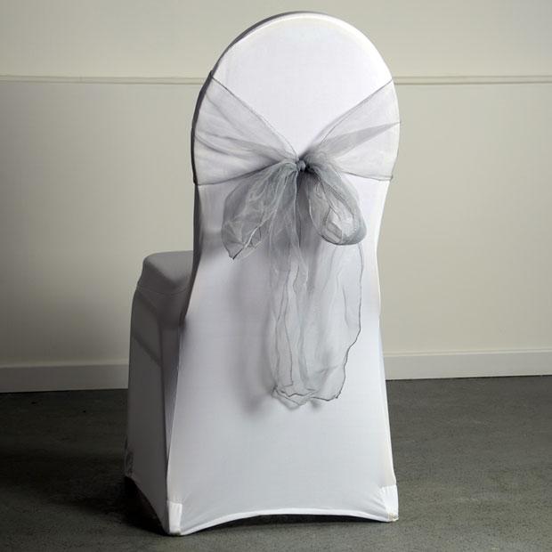 location noeud organza coloris argent pour housse de chaise. Black Bedroom Furniture Sets. Home Design Ideas