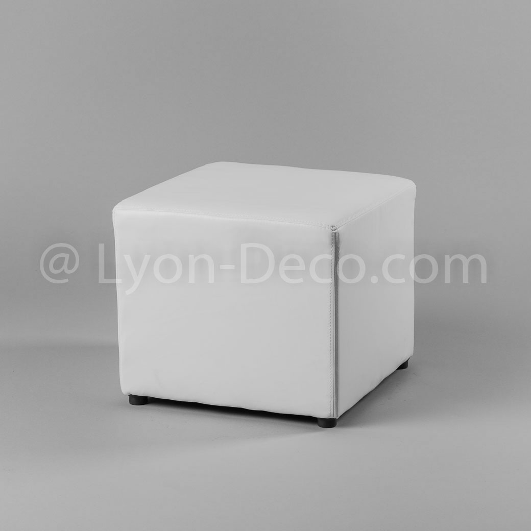 location pouf simili cuir blanc sur lyon location. Black Bedroom Furniture Sets. Home Design Ideas