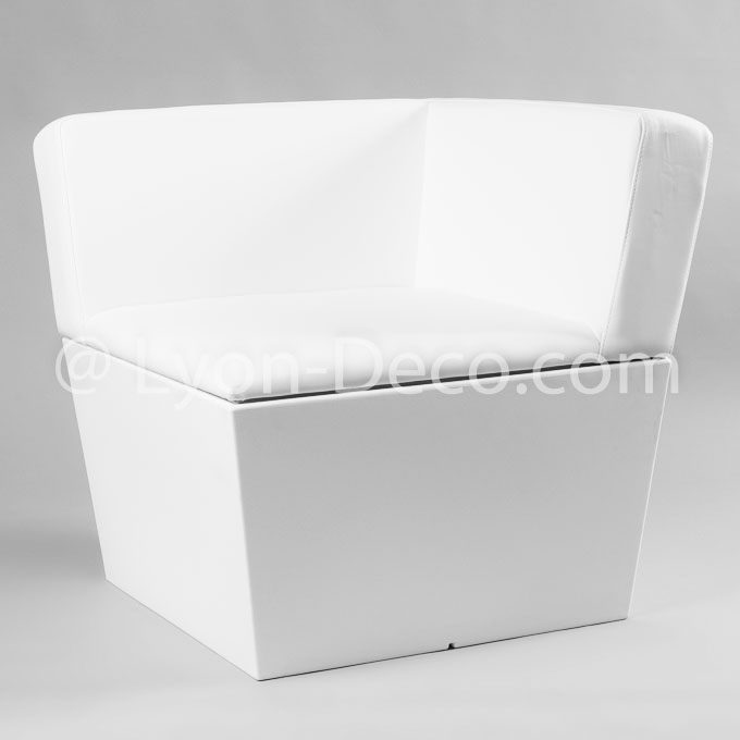 Assise Flex lounge d'angle simili cuir blanc