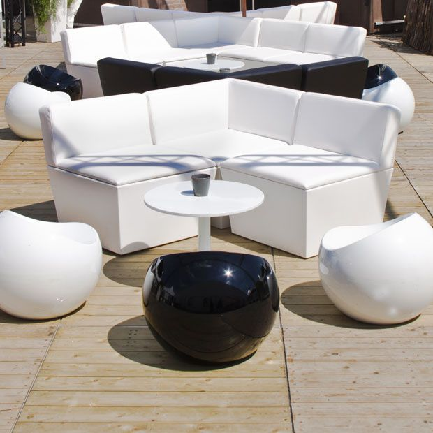 Assise Flex lounge + Pouf Ball + Table basse ronde