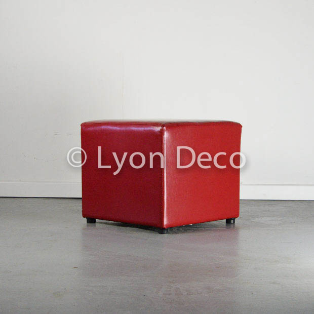 Location Pouf Simili Cuir Rouge