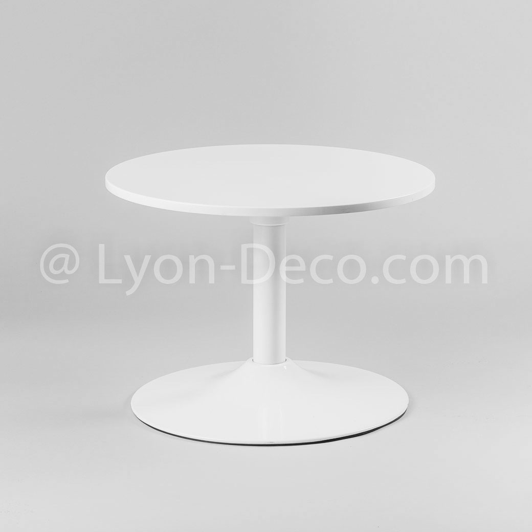 Location table basse ronde blanche type guridon - Table basse blanche ronde ...