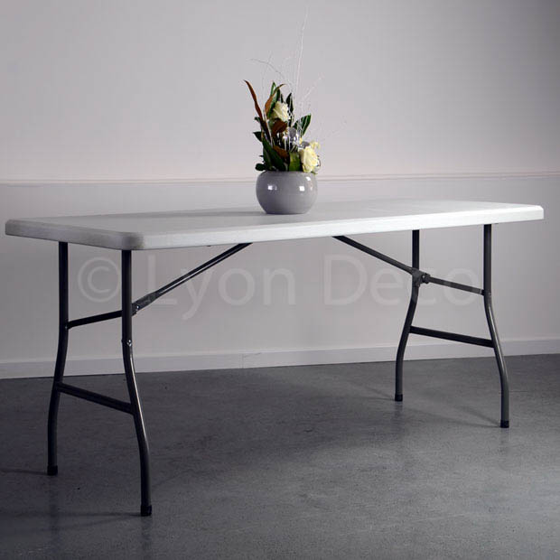 Location de table rectangulaire 220 x 76cm blanche 8 personnes Location table rectangulaire