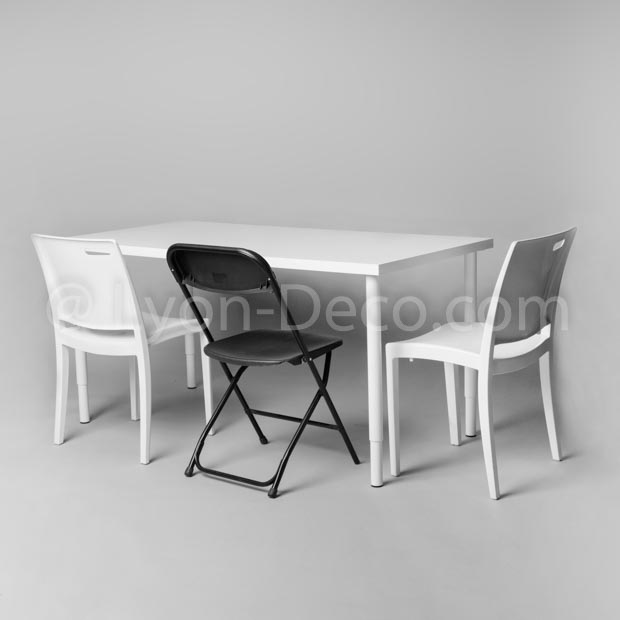 location table de travail rectangulaire blanche 150 x 75 x 70 cm. Black Bedroom Furniture Sets. Home Design Ideas