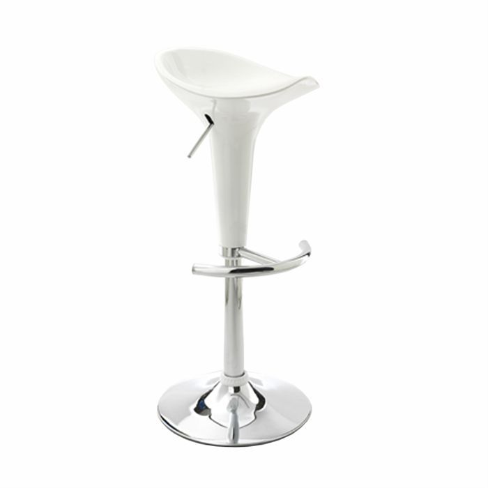 location tabouret de bar blanc et inox r glable en hauteur. Black Bedroom Furniture Sets. Home Design Ideas