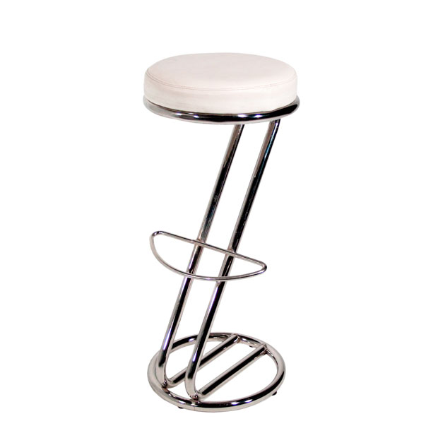 location de tabouret de bar z avec assise simili blanc repose pied