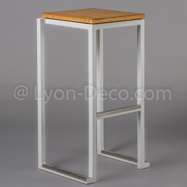 Location Tabouret Kubo Blanc assise Bambou